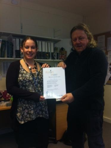 Amy Beesley receiving her Level 3 FLASH certificate from John Rivers. We are very pleased for her. Well done Amy!
